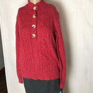 Bass 1/3 Button Front Sweater Cable Knit Size S